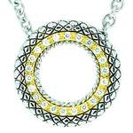 18kt and Sterling Silver Circle Pendant with Diamonds